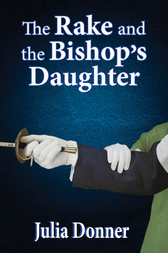 Regency Romance book cover for The Rake and the Bishop's Daughter by Julia Donner