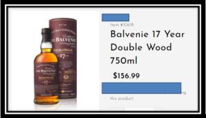 $157 bottle of 17 year old Balvenie